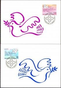 Liechtenstein 1995 Europa CEPT Peace and Freedom Birds 2 Maxi Cards FDC