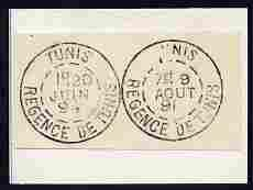 Tunisia two impressions of postmarks being forgeries by F...