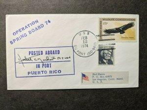 USS DU PONT DD-941 Naval Cover 1974 PUERTO RICO Signed Cachet