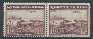 South West Africa 1937 1½d Mail Train sg96 f mint horizontal pair c£27