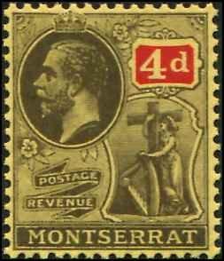 Montserrat SC# 66 KGV 4d wmk 4  Toned Gum