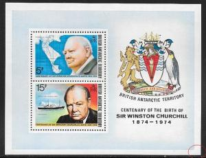 British Antarctic Territory 63a MNH  - Winston Churchill S/S - Crease