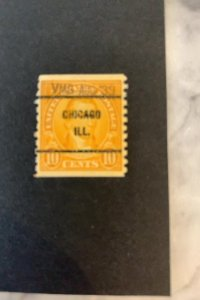 US Stamp #679, VMG AUG'39 CHICAGO ILL CANCEL 10c Monroe MINT Hinged SCV$90