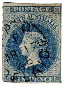 (I.B) Australia - South Australia Postal : 6d Prussian Blue (SG 33)