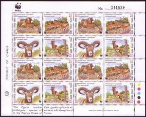 Cyprus WWF Mouflon Sheetlet of 4 sets SG#941-944 MI#914-917 SC#920-923