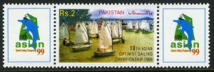 Pakistan 929F/labels, MNH. 10th Asian Optimist Sailing Championships, 1999