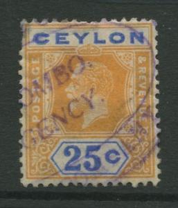 STAMP STATION PERTH: Ceylon #238  Used  1921  Single 25c Stamp
