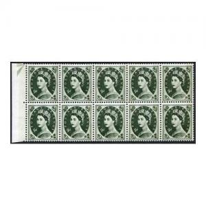 S128d 9d Bronze Green Crowns Wmk U/M Block 10 with Frame Flaw