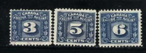 Canada 3,5,6 cent excise    u  PD