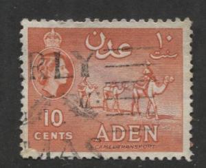 ADEN - Scott 49a - QEII Definitive- Vermillion - 1953- Used - Single 10c Stamp
