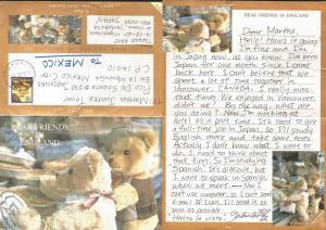 J) 1998 JAPAN, BEAR FRIENDS IN ENGLAND, AIRMAIL, CIRCULATED COVER, FROM JAPAN TO
