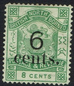 NORTH BORNEO 1891 ARMS 6 CENTS ON 8C POSTAGE AND REVENUE