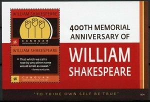 Canouan Gren St Vincent 2016 MNH William Shakespeare 400th Mem 1v S/S II Stamps