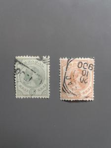 Netherlands Indies 20,22 F-VF used. Scott $ 11.75