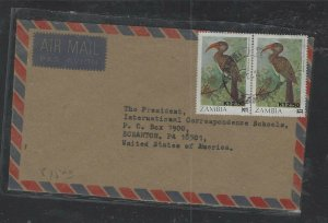 ZAMBIA  (P1402B)  BIRD 12.5 K/1KX2 ON A/M COVER TO USA