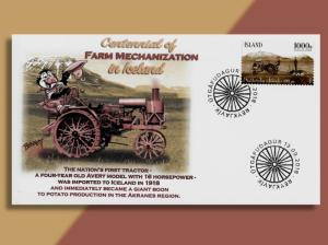 Iceland Celebrates Centennial of Their First Tractor!  Puffin Cachets Does Too!