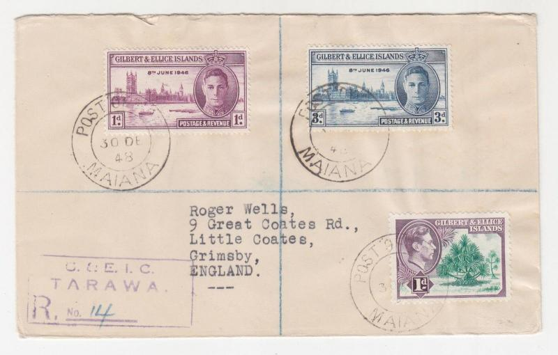 GILBERT & ELLICE ISLANDS, 1948 Reg. cover 1d. & Victory pair, MAIANA to GB