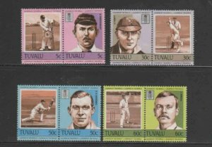 TUVALU #259-262 1984 CRICKET PLAYERS MINT VF LH O.G PAIRS