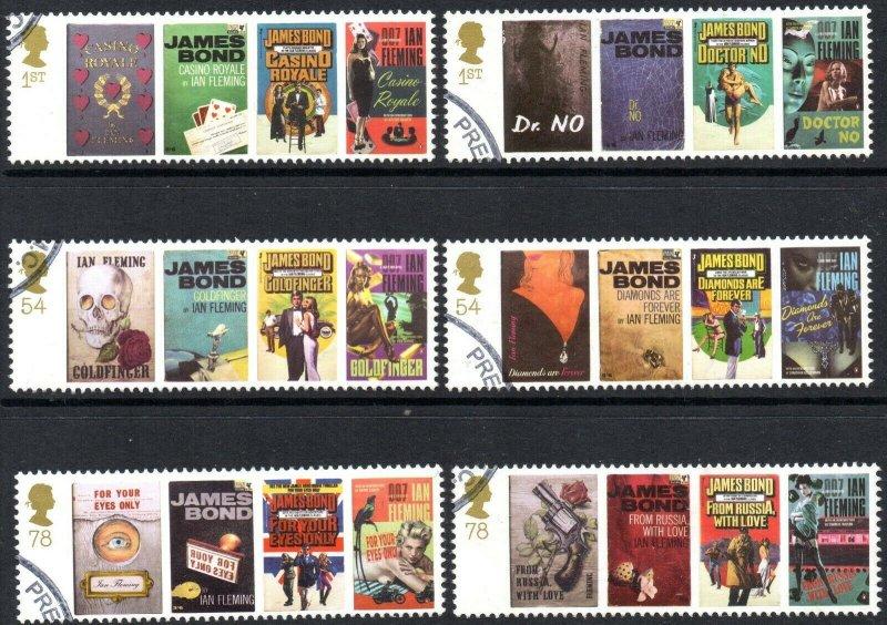 2008 Sg 2797/2802 Birth Centenary of Ian Fleming Fine Used Set of 6