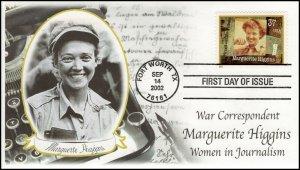AO-3668, 2002, Women in Journalism, Marguerite Higgins,  FDC, Add-on Cachet, SC