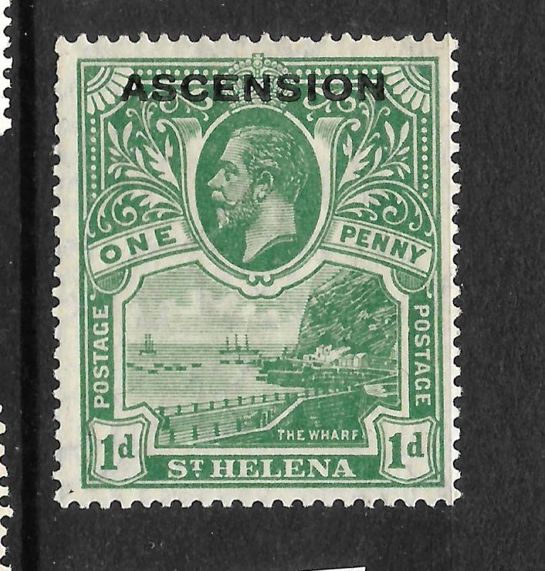 ASCENSION ISLAND  1922  1d   KGV  MLH  SG 2