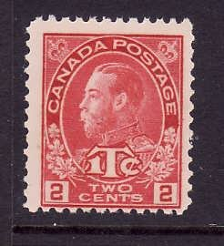 Canada-Sc#MR3b-Unused 3c rose red war tax-KGV-og-LH-1915-Cdn754-there are a numb
