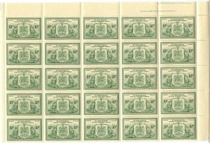 Half Sheet of E11 Plate #1 - 25 stamps VF MNH Cat $215 Canada mint