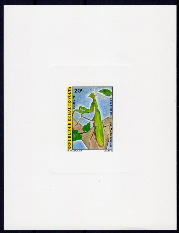 Upper Volta 1981 Mi#821 INSECTS (Mantis religiosa) DELUXE S/S IMPERFORATED MNH