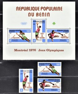 Benin 1976 Montreal Olympics Scott C250-52a complete set F to VF mint OG NH.