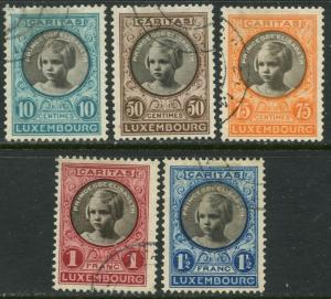 LUXEMBOURG Sc#B25-B29 1927 Princess Elisabeth Complete Set Used
