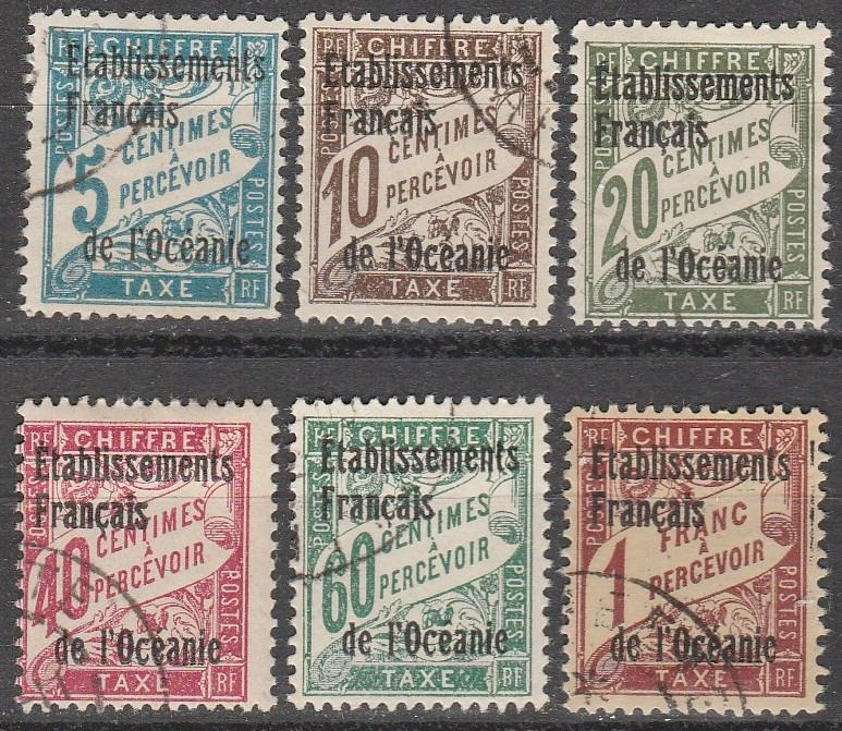 French Polynesia #J1-3, J5-7   F-VF Used  CV $13.95  (A13072)