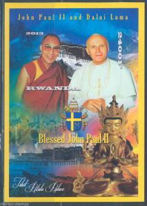 RWANDA POPE JOHN PAUL II & DALAI LAMA  SOUVENIR SHEET  MINT NH IMPERF