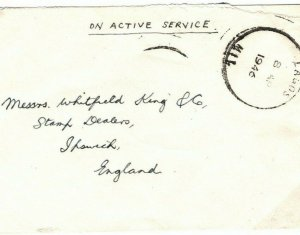 NIGERIA Cover Lagos Military *On Active Service* GB Ipswich 1946{samwells} SA31