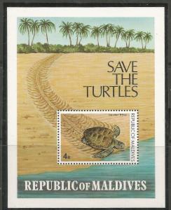 MALDIVE ISLANDS, 847, MNH, SS, SAVE THE TURTLES