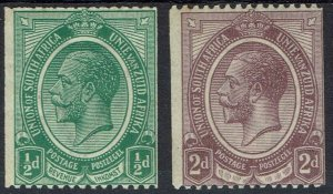 SOUTH AFRICA 1913 KGV COIL 1/2D AND 2D