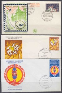 New Caledonia 341, 410 & 411 (3) cacheted  FDCs, 1965-1975