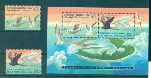 Cocos Is.  - Sc# 300-1a. 1995 Birds. MNH Set & Souv. Sheet. $5.40.
