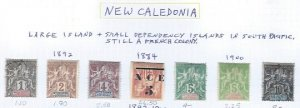 NEW CALEDONIA 1884-1900 SCV $47.25 STARTS @ 25% OF CAT VALUE