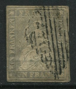 Switzerland 1855 1 franc lavender used
