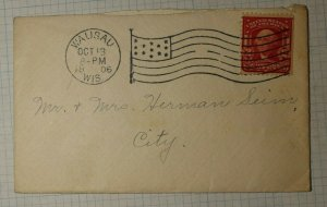 US Sc# 319D Used On Cover Wausau WI 1906 Flag Cancel