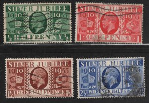 Great Britain Scott 226-229 Used 1935 Silver Jubilee set