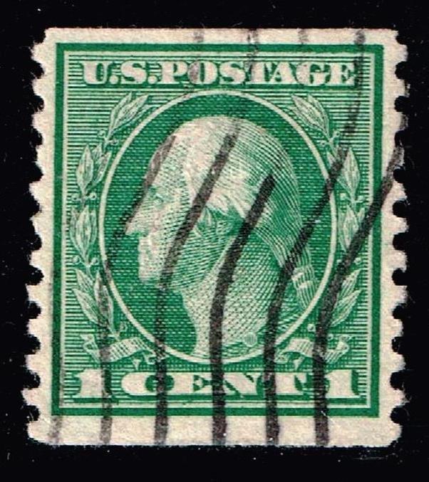 US STAMP #443 – 1914 1c Washington, green USED STAMP