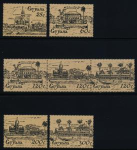 Guyana 918-22 MNH High Street Architecture, Cathedral, Town Hall
