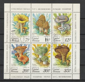 Guinea-Bissau S/S 635 Used Mushrooms 1985