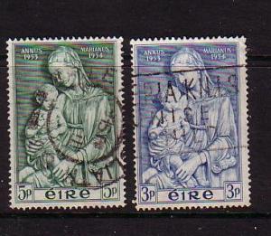 Ireland Sc 151-2 1954 Marian Year stamp set used