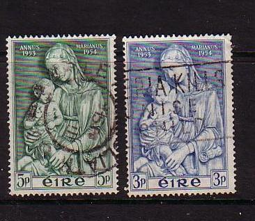 Ireland Sc 151-2 1954 Marian Year stamp set used
