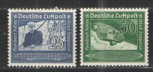 Germany - Third Reich 1938 Sc# C59-C60 MH VG/F - Count von Zeppelin air mail set