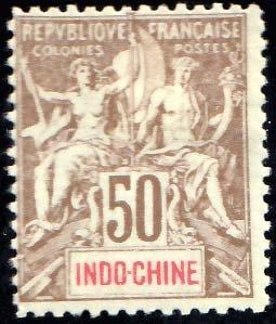 Indo-China Scott 18 Unused hinged.