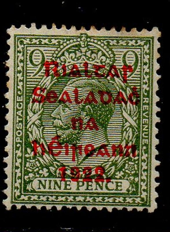 Ireland Sc 33 1922  9 d G V stamp overprinted mint