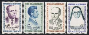 France 990-993, MNH. Heroes of WWII: Renouvin, Dubray, Gateaud, Elisabeth, 1961